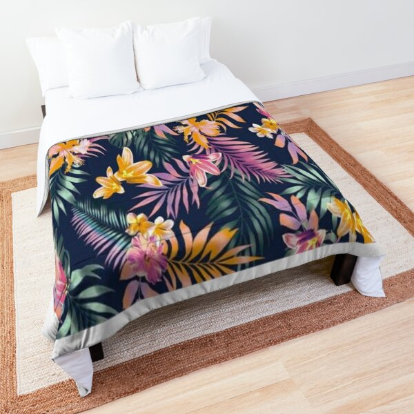 Colourful flowers and leaves  Comforter
