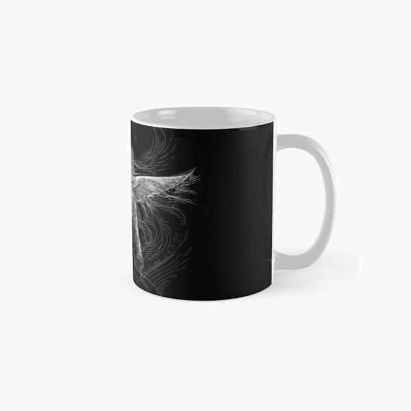 Hummingbird and Flower White Line Design Classic Mug