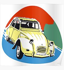 2cv Deux Chevaux seventies style Poster