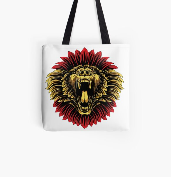 Angry baboon monkey face mascot All Over Print Tote Bag