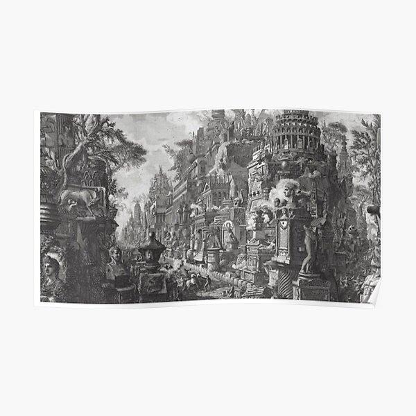 Giovanni Battista Piranesi, 18th century etching: Fantastical view of the Via Appia, veduta de fantasia Poster