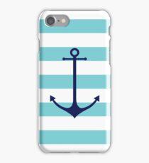 Blue anchor on navy stripes marine style iPhone Case/Skin