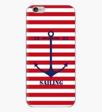 Blue anchor on red navy stripes marine style iPhone Case