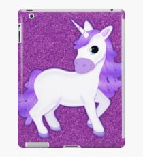 Cute Purple Cartoon Unicorn on Glitter Background iPad Case/Skin