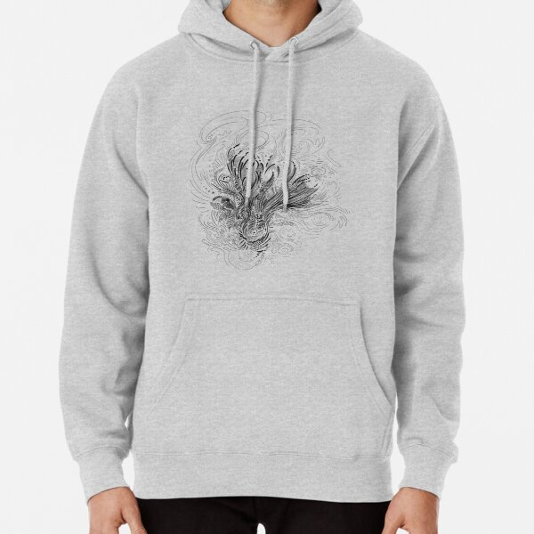 Floral Abstract Black Line Art Pullover Hoodie
