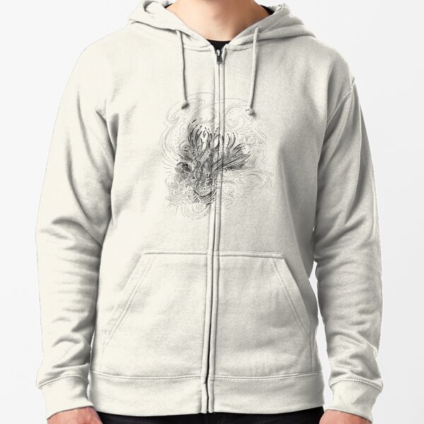 Floral Abstract Black Line Art Zipped Hoodie