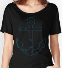 blue outline anchor Women's Relaxed Fit T-Shirt