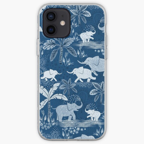 Happy elephants in blue iPhone Soft Case