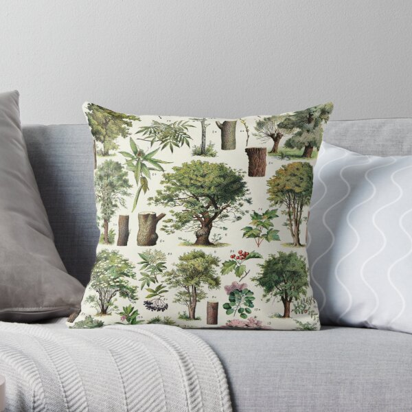 Adolphe Millot - Arbres A - French vintage botanical poster Throw Pillow