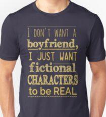 Camiseta ajustada No quiero novio, solo quiero que los personajes ficticios sean REALES # 2