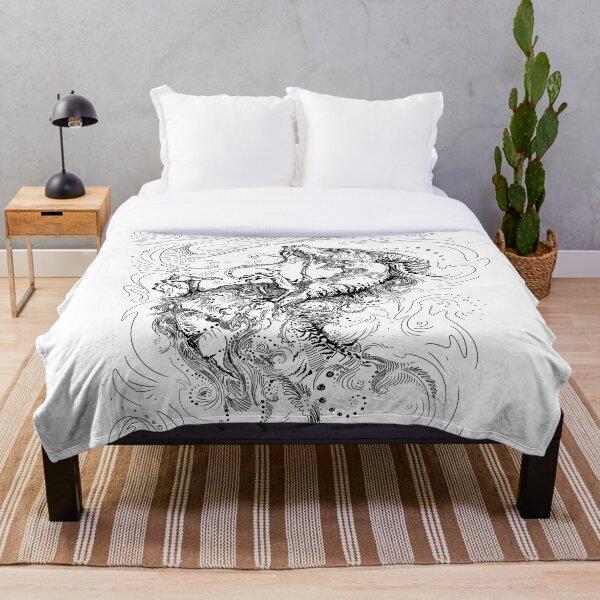 Chinese Dragon Black Line Design Throw Blanket