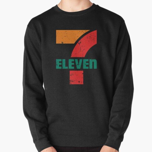 7 Eleven|Distressed and Faded 1980's Retro Design|Gas Station|Americana|Super Sized Logo Pullover Sweatshirt