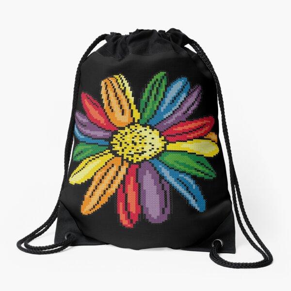Rainbow Pride Daisy Cross Stitch Pixel Art Drawstring Bag