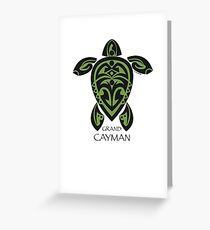 Black & Green Tribal Turtle Tattoo / Grand Cayman Greeting Card