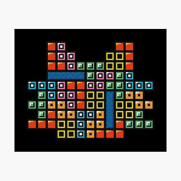 Tetris Cat Cross Stitch Pixel Art Photographic Print
