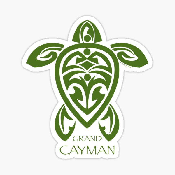Tortuga Tribal Verde / Gran Caimán Pegatina