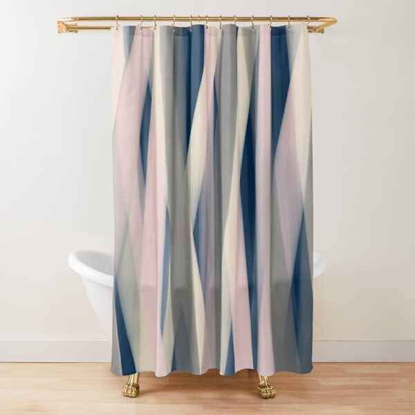 Ribbon Abstract Pattern in Pink, Navy Blue, Champagne Ivory, and Gray Shower Curtain