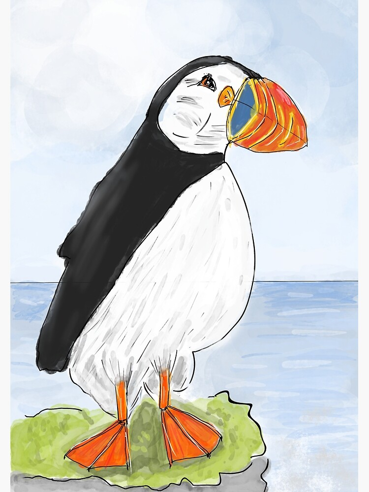 Cute and Whimsical Puffin Design  by ClareWalkerArt