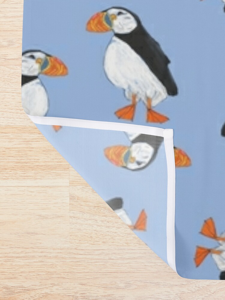 Alternate view of Cute and Whimsical Puffin Design  Shower Curtain