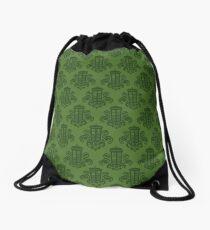 Tardis Damask - Green Drawstring Bag