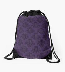 Tardis Damask - Purple Drawstring Bag