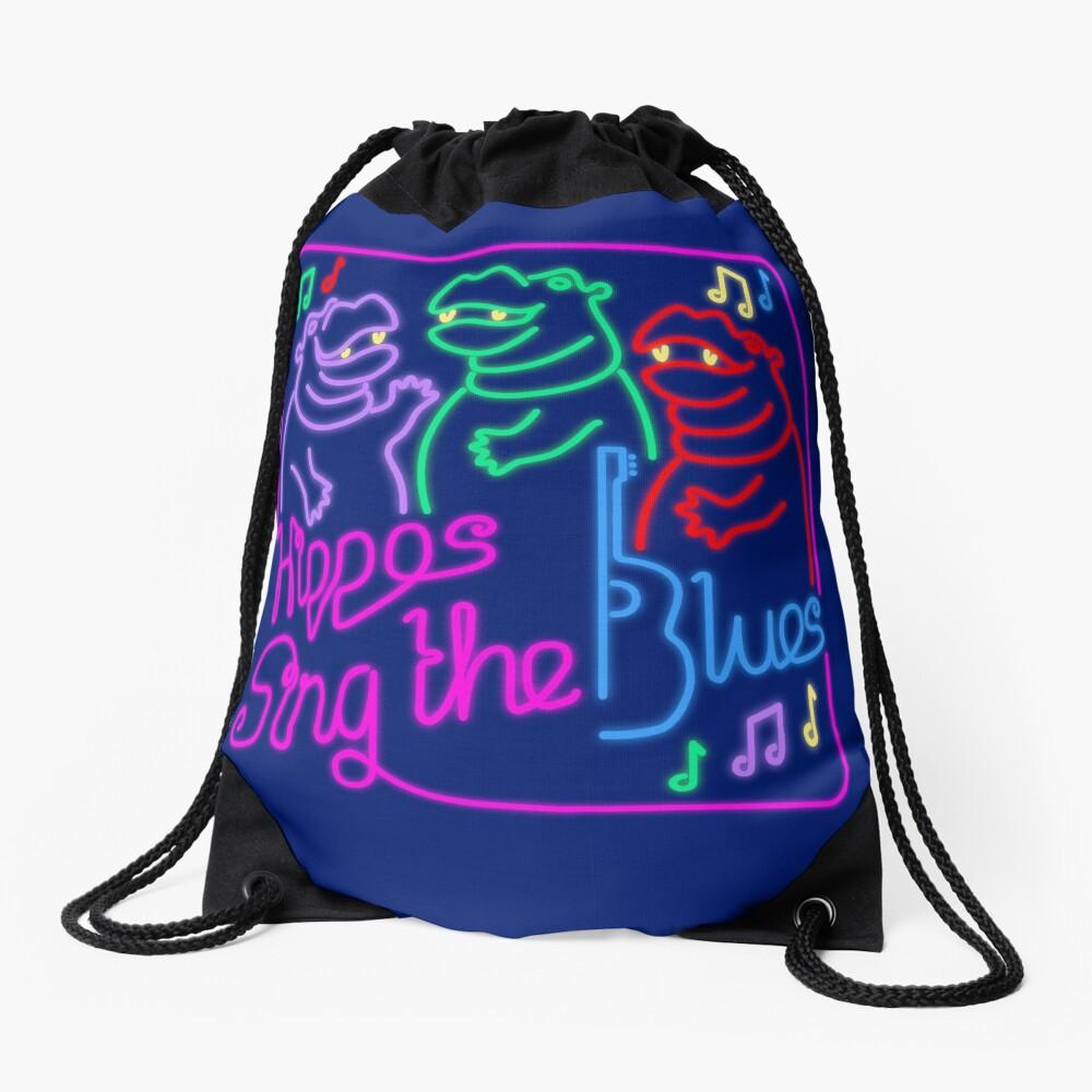 Hippos Sing the Blues Drawstring Bag