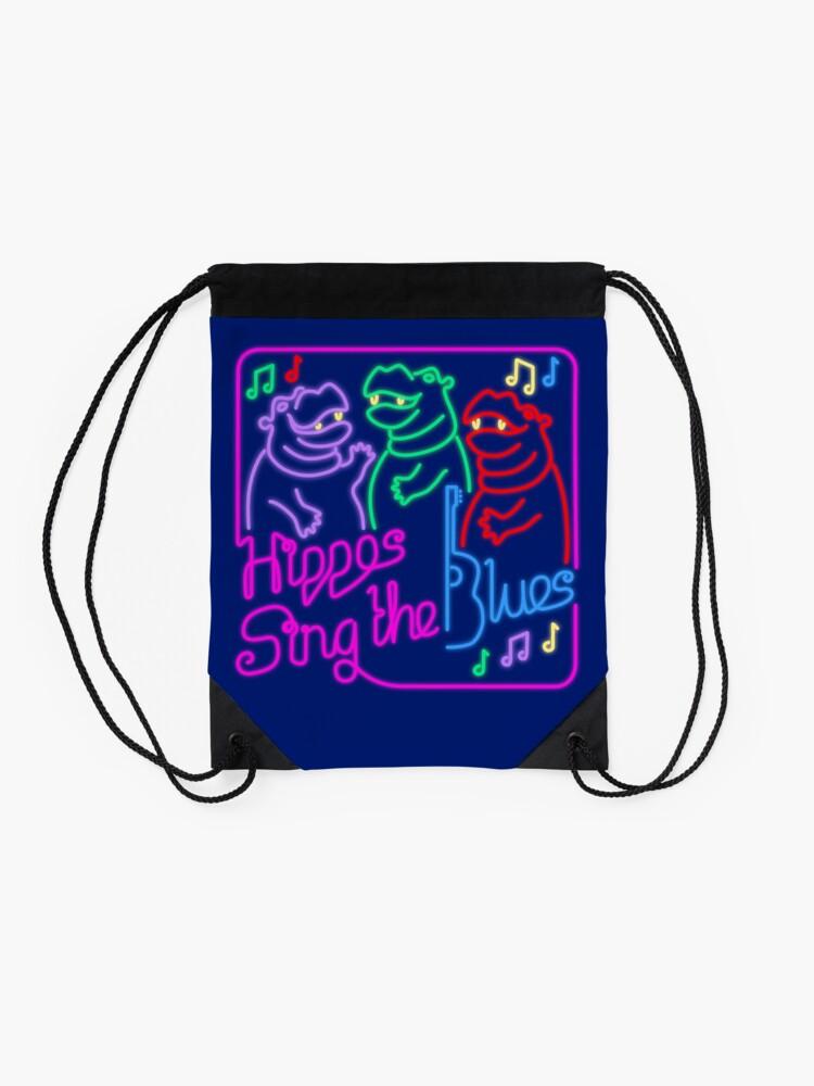 Alternate view of Hippos Sing the Blues Drawstring Bag