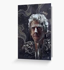 Twelfth Doctor–feathers and snow Greeting Card
