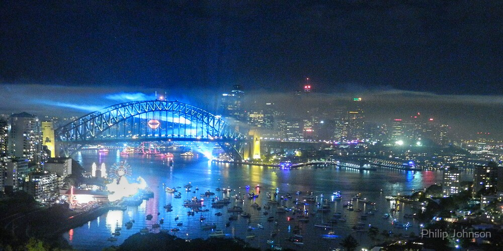 Smoke Gets In Your Eyes - Sydney NYE Fireworks  by Philip Johnson