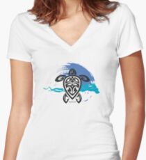 Tribal Turtle Maui Women's Fitted V-Neck T-Shirt