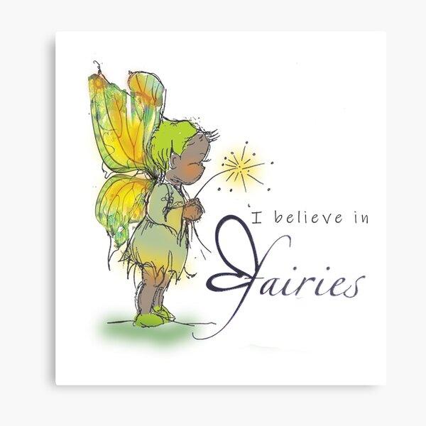 'I believe in fairies' sketch little green fairy Metal Print
