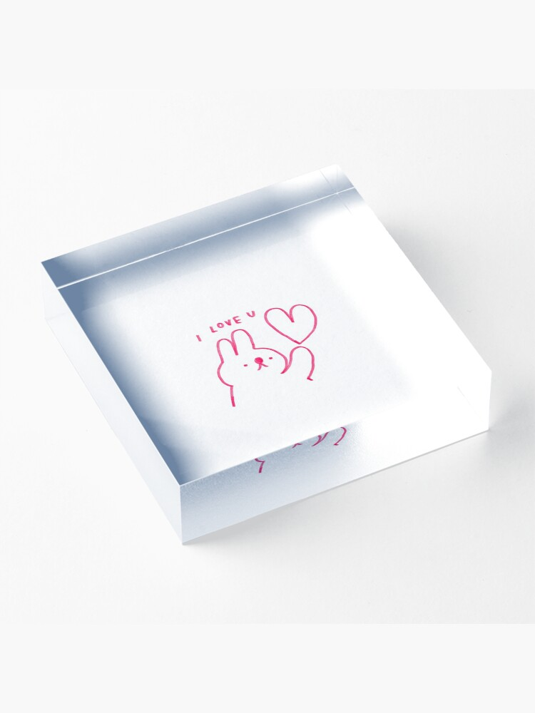 Alternate view of I LOVE U Acrylic Block