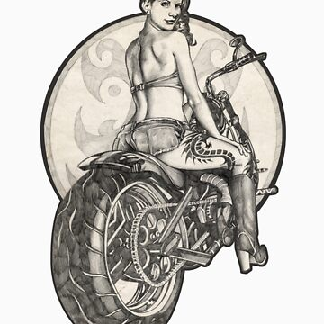 Retro Motorcycle Pinup Girl T-Shirts and Hoodies by brentms