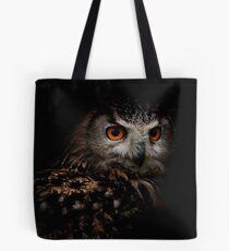 Eagle Owl with Orange Eyes Tote Bag