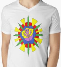 Rose and sun Mens V-Neck T-Shirt