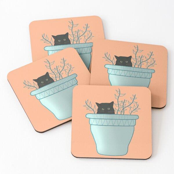 cat hiding in plant pot Coasters (Set of 4)
