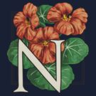 N is for Nasturtium - patch shirt by Stephanie Smith