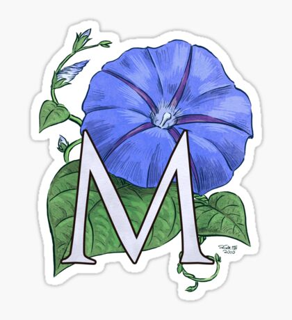 M is for Morning Glory card Sticker