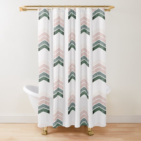 Pink + green Chevrons Shower Curtain