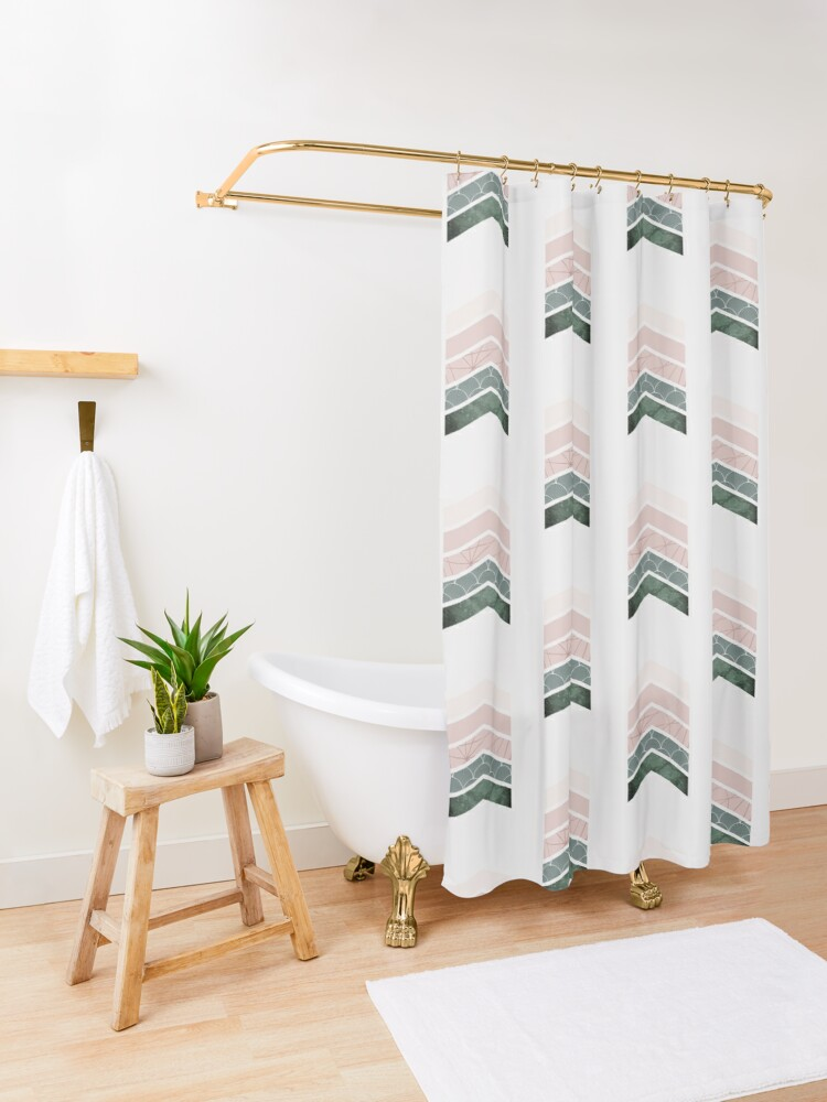 Alternate view of Pink + green Chevrons Shower Curtain
