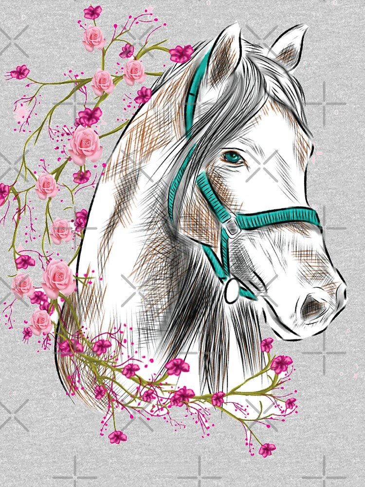 Horse Riding Floral Graphics Art by horseunicorns