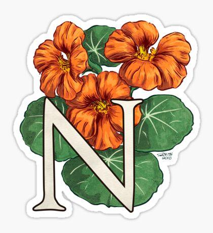 N is for Nasturtium - full image Sticker