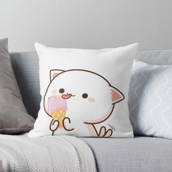 Peach and Goma Mochi Cat Ice Cream Throw Pillow