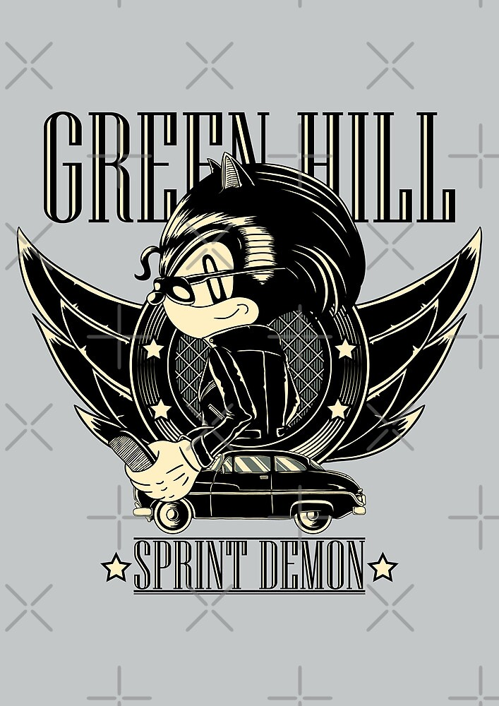 Green Hill Sprint Demon - Prints, Stickers, iPhone and iPad Cases by monochromefrog