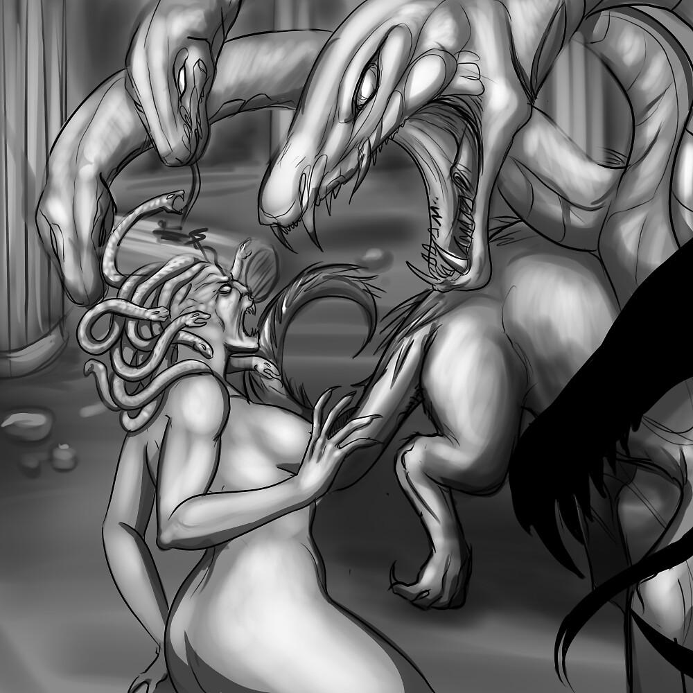 Medusa vs. Hydra by RileyOMalley