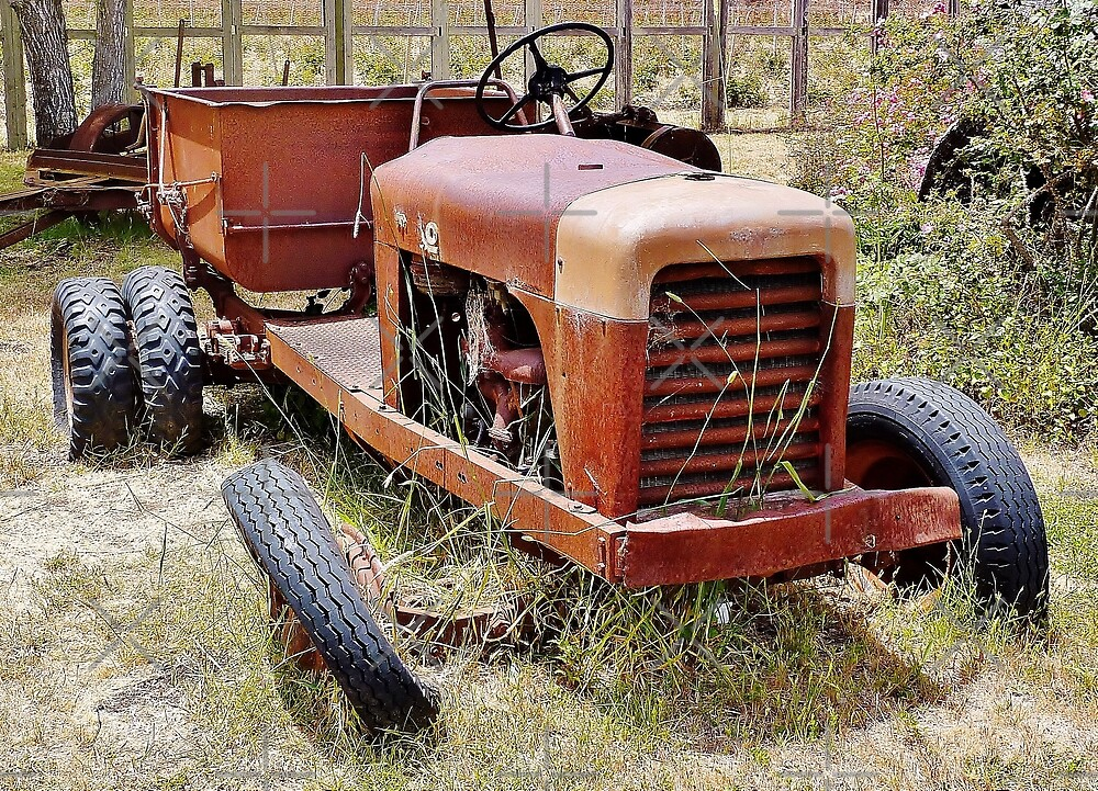 Old Farm Vehicle with Tire Off by Martha Sherman