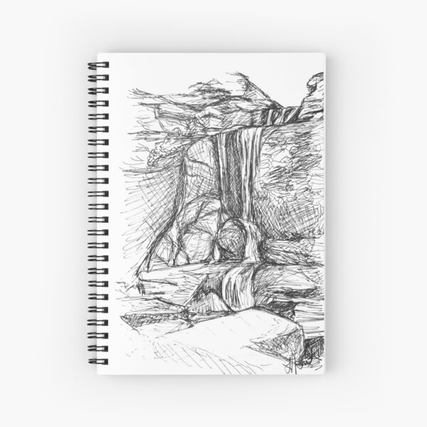 Cowshed Falls - Sketch by Laura Jaen Spiral Notebook