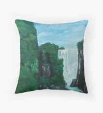 Forested Mountain with Waterfll Throw Pillow