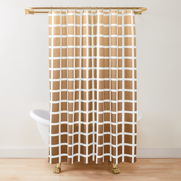 Gradient Square Tile - Browns Shower Curtain