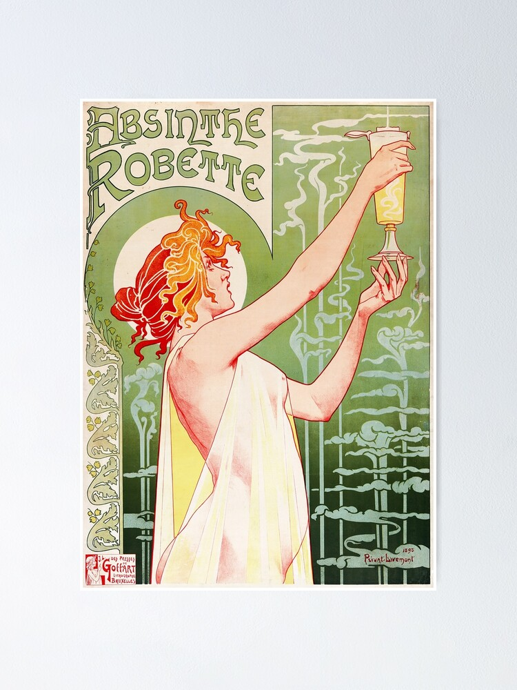 Alternate view of Absinthe Robette by Henri Privat-Livemont, 1896 Poster